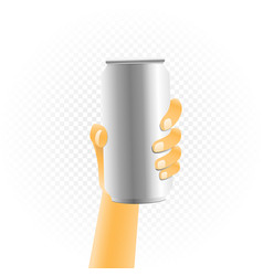 small can drink in hand vector image vector image