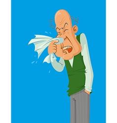 Sneezes older man vector