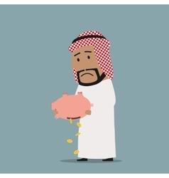 Arabian businessman with empty piggy bank vector image