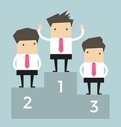 Businessman celebrates on Winning Podium vector image