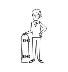 cartoon man skateboard sport play vector image