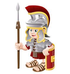 cartoon roman soldier vector image vector image