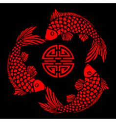 lacquer tile with fish design vector image