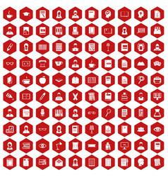 100 reader icons hexagon red vector