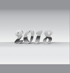 2018 silver chrome numbers design chrome shining vector image
