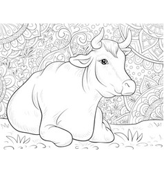 adult coloring bookpage a cute cow vector image
