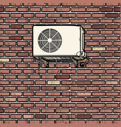 Air conditioning on outside brick wall vector