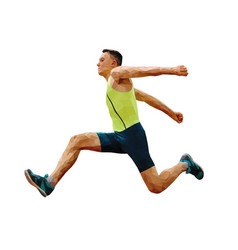 Athlete jumping in triple jump vector