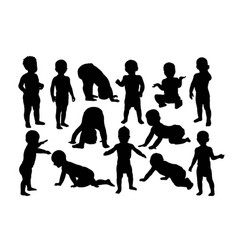 Baby crawling silhouettes vector
