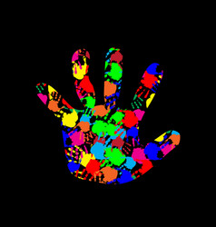 Baby hand with colorful hand prints pattern vector
