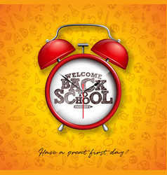 back to school design with red alarm clock and vector image