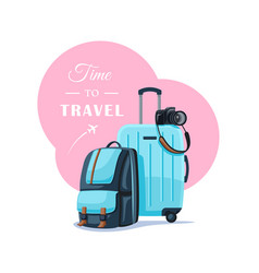 Backpack and suitcase isolated on white background vector