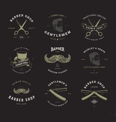 Barber shop logo set invert vector