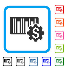 barcode price setup gear framed icon vector image