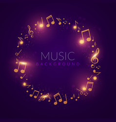 Beautiful shiny music circle with golden notes vector