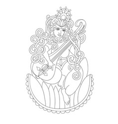black and white drawing of indian hindu goddess vector image