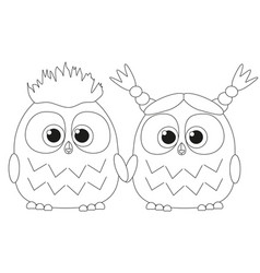 black and white poster with an owl couple vector image