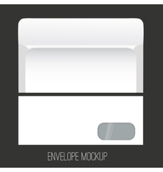 Blank envelope mockup with window front and back vector