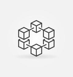 blockchain line concept icon or logo vector image