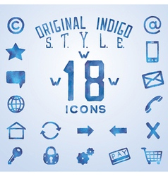 Blue indigo watercolor icons vector image