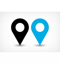 Blue map pins sign icon in flat style vector image