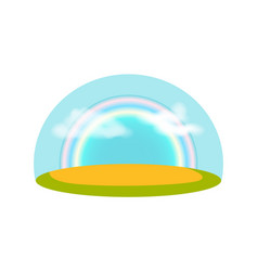 Blue sky with rainbow isolated icon vector