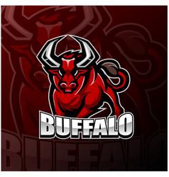 Buffalo esport mascot logo design vector