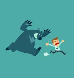 Business man run from bear vector