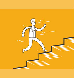 Businessman running up career ladder finance vector