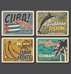 Caribbean and cuba travel fishing vacation vector