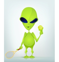 Cartoon Alien Tennis vector image