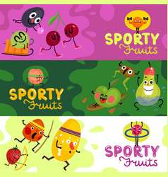 cartoon funny fruits banners vector image