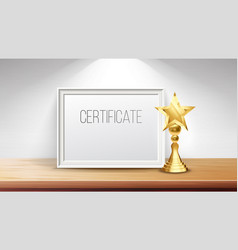 certificate diploma with golden cup print vector image