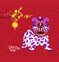 Chinese new year 2018 lantern blossom and lion vector