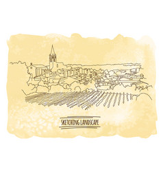 city sketching on vintage watercolor vector image