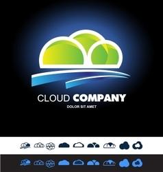 Cloud hosting storage logo icon set vector