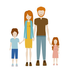 color silhouette family with redhead and dad with vector image