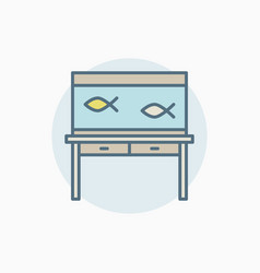 Colorful fish tank on table icon vector