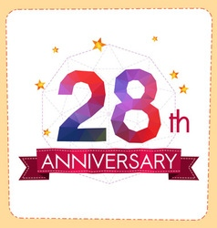 Colorful polygonal anniversary logo 2 028 vector