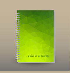 Cover of diary notebook green triangular pattern vector