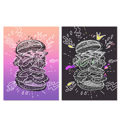 creative posters with fast food hamburger vector image