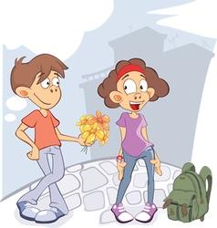 Cute Guy and Girl in Love Cartoon vector