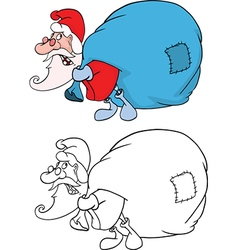 Cute Santa Claus and Sack Full vector image