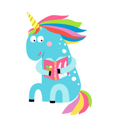cute unicorn reading a book vector image