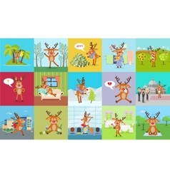 Deer Daily Activity Set Reindeer Emotions vector