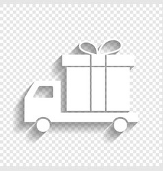 delivery gift sign white icon with soft vector image