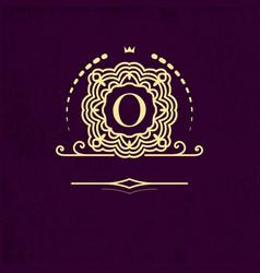 elegant frame monogram with the letter o gold vector image