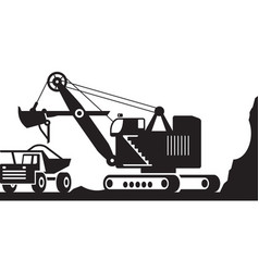 Excavator loading heavy duty truck with ore vector