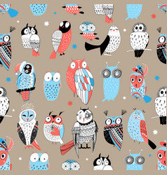 exotic pattern with different owls vector image