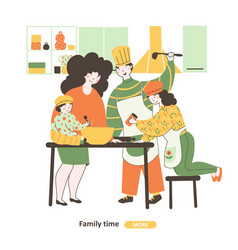 Family cook together flat cartoon family house vector